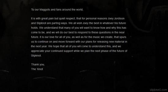Slipknot anuncia la separación de Joey Jordison