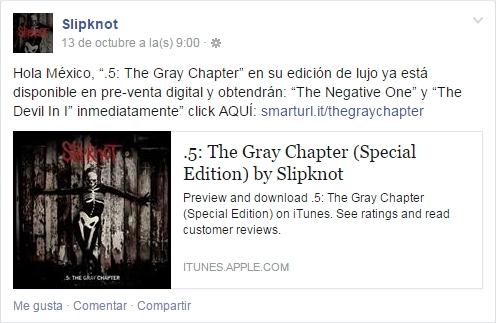 Mensaje Slipknot Mexico 13 Octubre