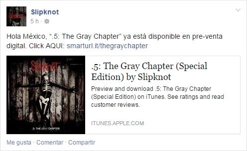 Mensaje Slipknot Mexico 17 Octubre