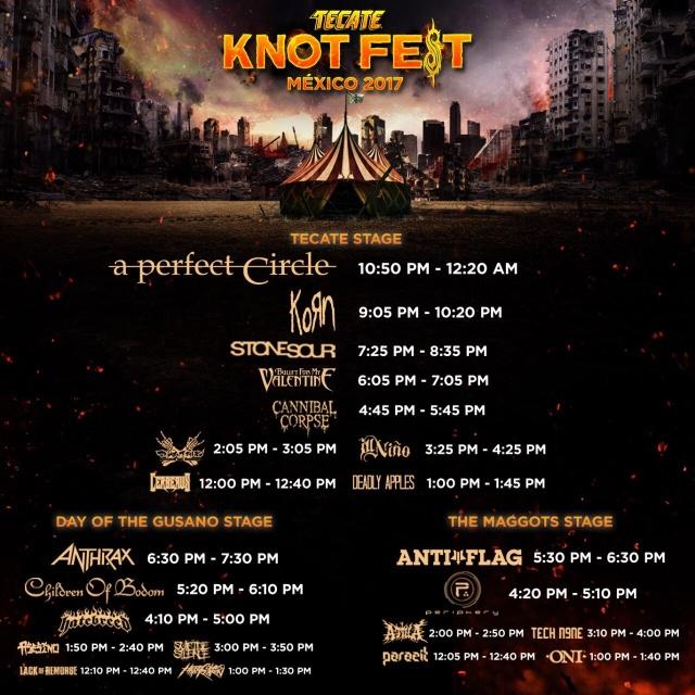 slipknotmexico-horarios knotfest mexico 2017